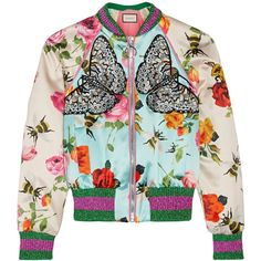 Gucci Appliquéd printed silk-satin bomber jacket ($2,905) ❤ liked on Polyvore featuring outerwear, jackets, bomber, gucci, casacos, embroidered bomber jacket, green jacket, bomber jackets, metallic bomber jacket and flight bomber jacket