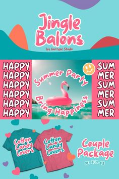 Jingle Balons #font #alphabet #type Birthday Card Decoration, Comic Font, Letter Symbols, Font Alphabet, Cute Signs, Happy Summer, Cute Characters, Funny Games, Coloring For Kids