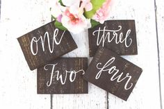 Rustic Calligraphy Wooden Table Numbers - Rustic Weddings (wt-1)