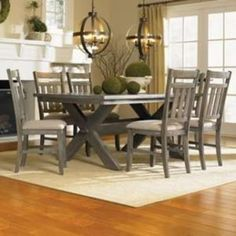 The Turino 7 piece Dining Set includes a table and six chairs. The large spacious tabletop offers ample food and elbow room and seating space for many. Thick, sturdy legs in an X-design complete the piece. The side chairs feature traditional straight li 7 Piece Dining Set, Dining Room Sets, Dining Table In Kitchen, Dining Table Chairs, Dining Room Design, Dining Furniture, A Table, Side Chairs, Grey Table