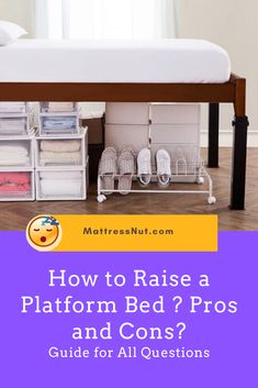How to Raise a Platform Bed ? Pros and Cons? – Guide for All Questions | Are you looking to increase the storage space under your platform bed? That's what you would need a riser for. Risers are designed to increase the distance from the bottom of the mattress to the floor. #decor #homedecor #bedroom #furniture #platformbeds #mattressnut Raised Platform Bed, Platform Bed With Storage, Under Bed Storage, Platform Bedroom, Diy Platform Bed, Storage Baskets, Storage Spaces, Bed Designs With Storage, Platform Bed Designs