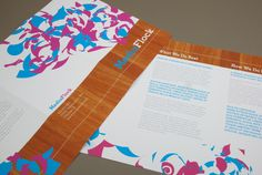 Media Group Brochure Template.  This unique brochure is appropriate for a media group to describe strategy and services. The colorful, abstract shapes throughout the brochure add a unique element that help to convey any media group's goal to produce eye-opening results for clients. #inkd #design #customize