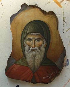 A St Anthony Δια χειρός.... Byzantine Icons, Byzantine Art, Religious Icons, Religious Art, Small Icons, Religious Paintings, Art Icon, Orthodox Icons, Traditional Art