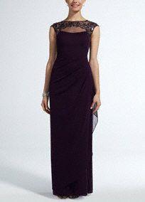 Mother of groom  Cap Sleeve Long Jersey Dress with Beaded Neckline