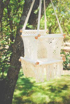 Macrame baby swing. Adelisa & Co.  $65.00 #boho #bohobaby #macramebabyhammock