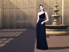 The Sims Resource: Black Gown Set ASTRID by Starlord • Sims 4 Downloads