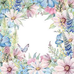 Frame Floral, Flower Frame, Art Floral, Flower Art, Watercolor Flower Wreath, Floral Watercolor, Flower Backgrounds, Wallpaper Backgrounds, Wallpapers