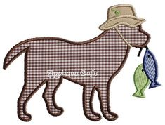 606 Fishing Dog Machine Embroidery Applique Design by AppliqueCafeDesigns on Etsy https://www.etsy.com/listing/209225580/606-fishing-dog-machine-embroidery