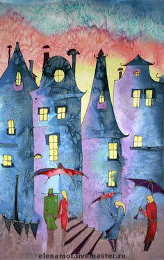Batik Art, Silk Art, Naive Art, Fantasy Landscape, Silk Painting, Cute Illustration, Home Art, Watercolor Art, Art Projects