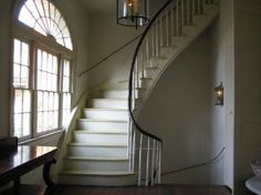 Vintage #stairs With Flare And Wooden Railing With White Pieces Repinned By  #smgtreppen