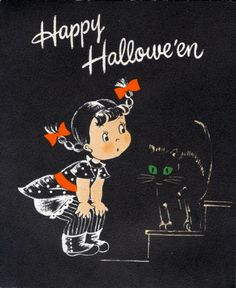 vintage Halloween card with girl and black cat