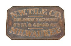 rare original c. late 19th century single-sided flush mount cast bronze northwestern tile company sidewalk plaque with nicely aged surface patina