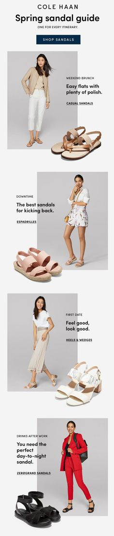 Shoes, Bags, Accessories for Men and Women Email Newsletter Design, Email Newsletters, Email Design Inspiration, Spring Sandals, Cole Haan Shoes, Bag Accessories, Espadrilles, Casual, Collection