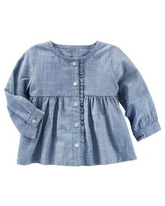 Chambray Ruffle Top from Carters.com. Shop clothing & accessories from a trusted name in kids, toddlers, and baby clothes.