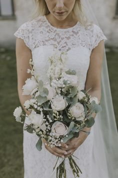 Delicate Pink Rose Bouquet with Eucalyptus & Stocks - Matilda Söderström Photography | Barkenbom Creative Film | By Malina Bridal Wedding Dress | White on White Swedish Destination Wedding | Baby Pink ASOS Bridesmaid Dresses
