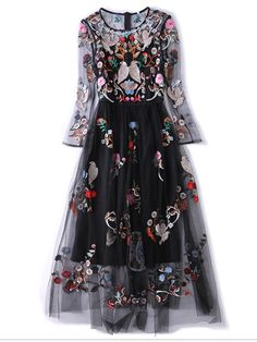 Embroidery Lace Floral O-Neck Long Sleeves Long Dresses Just Shop, Daily Dress, Long Dresses, Designing Women, Floral Lace, Special Occasion, Dior, Gowns, Embroidery
