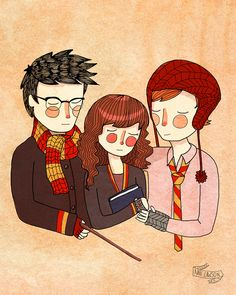 Harry, Hermoine and Ron - Nan Lawson Harry Potter