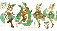 Leafeon Custom Doll Concept Art by Dollightful