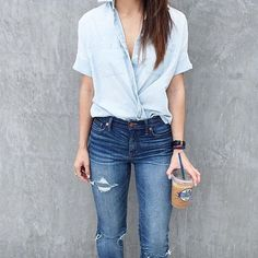Do the Wrap-and-Tuck: A simple short-sleeved button-down instantly becomes more interesting thanks to this styling trick.