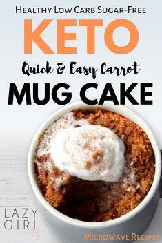 Healthy Low Carb Keto Carrot Mug Cake This is the best healthy, super moist and delicious low carb keto carrot cake. If you like carrot cake, desserts or a keto diet, you should try this recipe! Remember, the next time you look for a dessert for one! Low Carb Keto, Low Carb Recipes, Keto No Bake Cheesecake, Coconut Cheesecake, Amaretto Cheesecake, Keto Mug Cake, Low Carb Mug Cakes, Sugar Free Desserts, Keto Desserts
