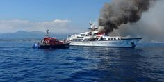 L'incendie sur le yacht au large de l'aéroport de Nice devient incontrôlable - Nice-Matin