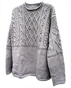 Summary: Drop-shoulder, cabled pullover with bobbles in three sizings: childrens, ladies, and mens.