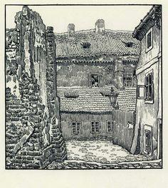 Pohled Jana Honsy do dnes neexistující Prahy (ulice Malá Klášterská). Kresba je z cyklu Ze staré Prahy, který vznikl před 100 lety.