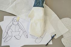 Sketch of our giant orangutan bean bag RÆMADE from one single American fire proximity suit jacket. Twenty hours of work have gone into bringing this very special art piece to life. This item is a one-off, completely unique and labelled as 1 of 1.