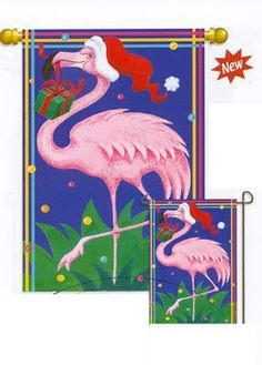 Large Flag: Christmas Flamingo by The Flag Center. $19.95. 29 x 42. Double sided flag.. Amazing detail. High quality garden banner.. This large flag depicts a decorative design of a Flamingo with Santa Hat and present. The flag measures 29 in x 42 in and will fit on any standard house or building attached flag pole for sleeved flags. Made from 100% nylon this flag will last year after year.. Save 20%!