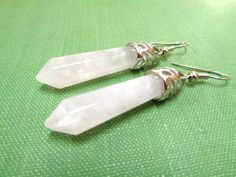 Rose Quartz Earrings Healing Point Crystal by BeadSparkleZ on Etsy