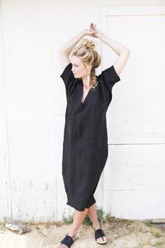 Rachel Craven long v-neck caftan in black linen