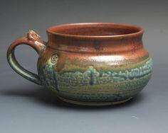 Handmade pottery soup mug ceramic chili mug glossy blue cereal ice cream bowl 24 plus oz 3750a by BlueParrotPots on Etsy