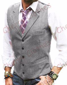 Mens Wool Blend Tweed Grey Gray Herringbone Lapel Waistcoat Vest All Sizes | eBay