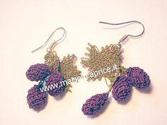 orecchini in seta fatti a mano ad ago, silk earrings