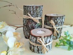 LISTING IS FOR A SET OF LARGE AND SUBSTANTIAL (3) NATURAL LIVE OAK TREE BRANCH CANDLEHOLDERS WITH THICK BARK, AND TIED WITH NATURAL RAFFIA FOR