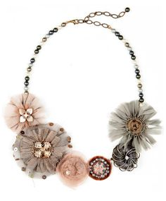 Elements by Jill Schwartz Fabric Flower Necklace