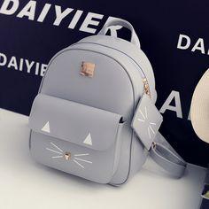 Womens Cat Backpacks PU Leather Shoulder School Bags Cute 3D Cats Girls Mochilas Students Backpack Korean Preppy Style Teen Pack