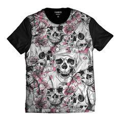 Camiseta T-shirt Caveira com Flores Skull Sorrindo Thug Life Flores Rosas  Rap Camisetas Masculinas d4bc214211d