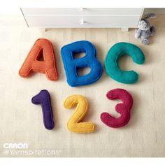 ABC's and 123's Crochet Pillows   Yarnspirations   Free Pattern   Crochet  