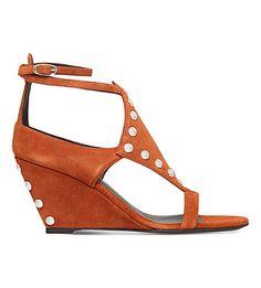 GIUSEPPE ZANOTTI Studded Suede Wedge Sandals. #giuseppezanotti #shoes #sandals