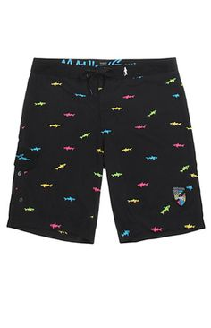 "Online Only! Maui and Sons comes strong with a comfortable pair of boardshorts found at PacSun. The Straight Shark Boardshorts come with a black base and a fun multicolor shark print.   	Multicolor print boardshorts 	Maui and Sons logo on knee 	Velcro cargo pocket 	Reinforced tie waist, spandex fly 	19"" outseam 	Machine washable 	100% polyester 	Imported"