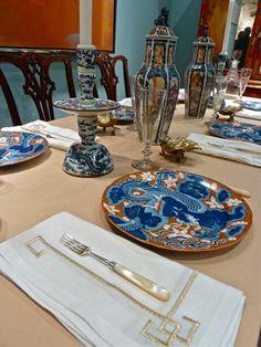 Kim Seybertu0027s Greek Key Embroidered Napkins Look Amazing Next To Antique  Plates.