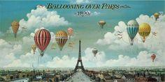 Retro Vintage Poster Art Home Decor Print Ballooning Over Paris Eiffel Tower Paris Wall Art, Paris Art, Paris Canvas, Poster Art, Kunst Poster, Art Posters, Music Posters, Imagenes Vintage Hd, Paris France