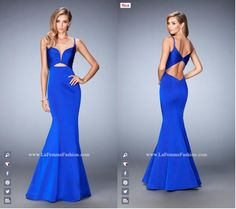 La Femme Prom 22747 long prom dress - blue prom dress - homecoming dress - pageant dress - formal dress - mermaid gown - pleated bodice - front cutout - open back
