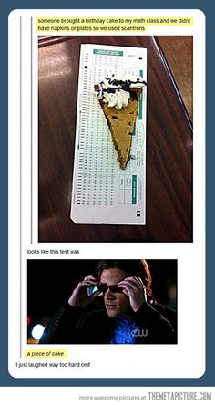 This test was a piece of cake. Supernatural Sam Winchester doing CSI Miami Lt. Horatio Caine. This episode was awesome. <-- I can't wait to get to that episode!