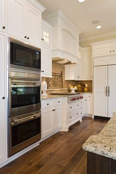 "Microwave on top ovens - top oven should be a small convection oven like our ""toaster oven."""