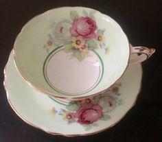 Vintage Paragon Mint Green Tea Cup and Saucer Set/Lavender & Pink Rose…
