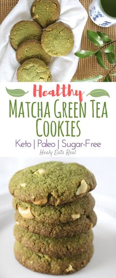 Healthy Matcha Cookies (Keto, Paleo & Sugar Free) sponsored by Vital Proteins #ad- These healthy matcha cookies are such an easy simple treat! They are keto and gluten free and taste a bit like almond flour shortbread with a green tea kick.
