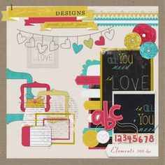 ALL YOU NEED IS LOVE {FREE DIGITAL SCRAPBOOKING KIT}