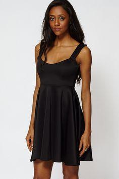 Black High Waist Shoulder Skater Dress Plus Size Available